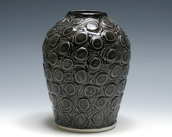 Dark Charcoal Gray Vase with Carved Circles