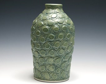 Matte Green Vase with Carved Circle Pattern