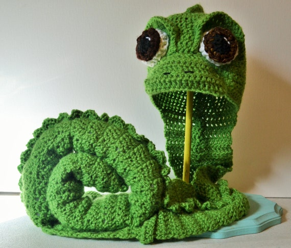 Crochet Pascal the Chameleon Hat and Tail Set - Cartoon Costume Hat ...