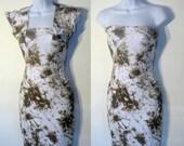 Brown/White Tie Dye Dress with matching Bolero Caplet XS-M