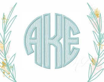 """3"""" inch Satin Stitch Circle Monogram Font Classic Font Embroidery Fill 4x4 Machine Embroidery     BX instant download"""