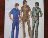 Vintage 70s Simplicity 5376 Mens Jumpsuit Overalls Coveralls Sewing Pattern Size 44 UNCUT