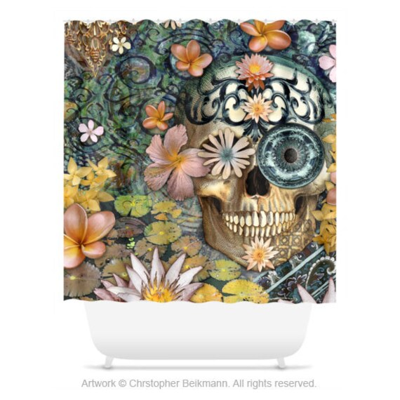 Floral Sugar Skull Shower Curtain Floral Skull Bath Curtain Dia De Los Muertos Bathroom