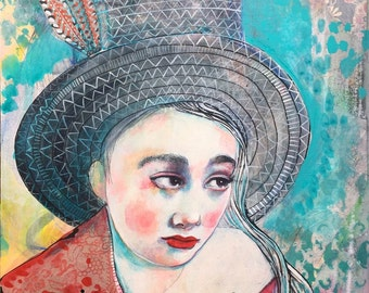Penny For Your Thoughts- Original mixed media painting by Maria Pace-Wynters