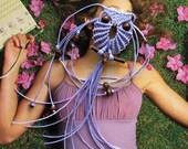 Lavender Macrame Owl Necklace, Gifts Under 15, Micro Macrame Owl Pendant Necklace, Textile Jewelry, Cute Adjustable Women Necklace, macraMe