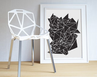 modern wall art geometric geode triangles ++ black + white art ++ 2 design styles ++ INsTAnT DOwNLoAD ++ handmade design