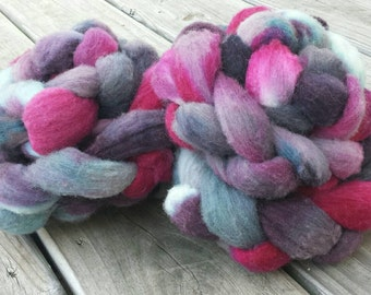 "SALE Hand Dyed Polypay Wool Roving - Yarn Hollow ""Alexander"" Multi Color  - pink, magenta, purple, grey, gray, dark, bold - 20% OFF"