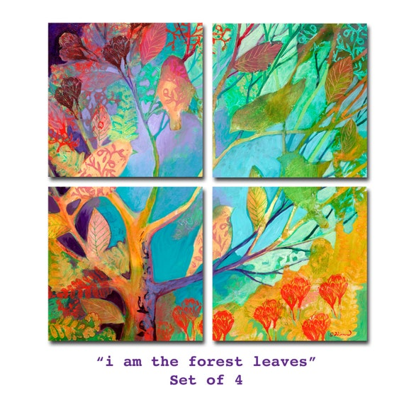 i am the forest leaves - in 4 parts - Prints on Paper or Wood by Jenlo