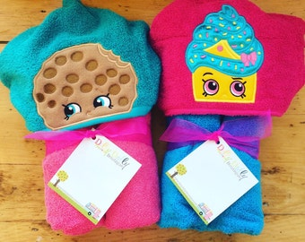 Shopkin cupcake or cookie Inspired Hooded Towel for kids, Large Kids Hooded Towel, Character Hooded towel, Cupcake Hooded Towel