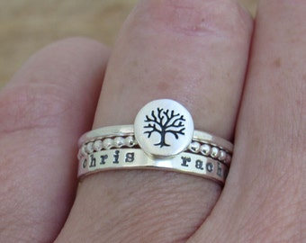 Family Tree Ring Trio THREE Stacking Rings Personalized Hand Stamped Ring Set