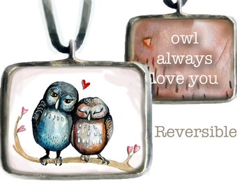 Love Owls the perfect love token, glass pendant, original art, valentine's day