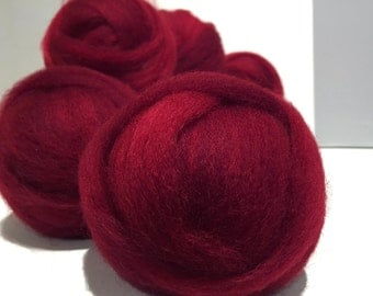 Deep Red wool roving, Needle Felting Spinning wool, w/ 3 fiber samples, Christmas red, primary red, blood red blue red