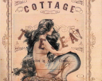 Mermaid Cottage by the Sea Collage*Gorgeous*Quilt art fabric block*Quilts,Pillows,Sachets,Frame