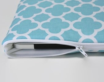 "Mother's Day 13 inch MacBook Pro 15"" Touch Bar Sleeve Laptop Case 11"" MacBook Air Cover - Aqua Quatrefoil"