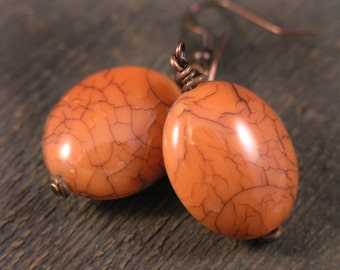 SALE Tangerine orange large bead and antique copper handmade earrings