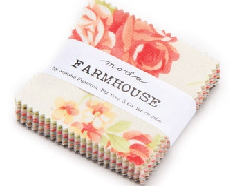 1 pack - Farmhouse Mini Charm Pack by Fig Tree and Co for Moda Fabrics,  42 2.5 inch squares