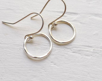 Hammered Sterling Silver Dangle Earrings Minimal Earing Hoop Design