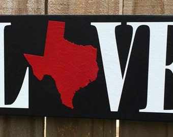 Love Your State, Texas, all 50 states available Wood Sign 5.5 x 12