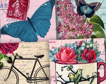 Printable Collage Sheet 1-inch Square Flutterby vintage Butterfly and flowers, hot air ballon, rose, bike, birds, france, piddix 1086