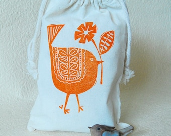 Orange Bird Drawstring Gift Bag
