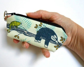 Mini Key Chain Zipper Pouch ECO Friendly Padded Lip Balm Case NEW Sloth Days