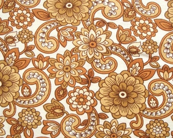 vintage 60s 70s flower power fabric in chocolate brown and taupe large piece