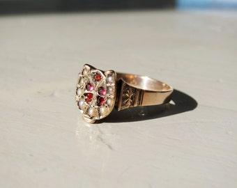 Victorian Garnet and Seed Pearl Horseshoe Ring