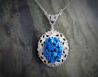 Deco Silver, Marcasite and Faux Lapis Pendant Necklace