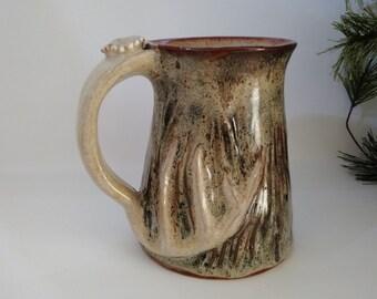 Handmade Pottery Mug Birch Tree Bark Deer Antler By