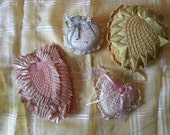 Antique Victorian lace and flowered pin cushions, very unique design and workmanship, decorative and pretty