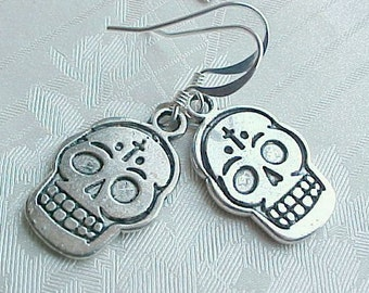 Day of the Dead Earrings Day of the Dead Jewelry Dia de los Muertos Earrings Dia de los Muertos Jewelry Silver Sugar Skull Jewelry