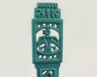 Tribal Letter Opener, Vintage Plastic Turquoise Opener, Southwestern Style Eagle Bird, Home Office Desk Tool