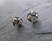 small Silver Post Earrings Sterling Studs Button earrings Funky stamped
