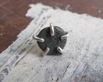 Mens Single beach stone stud earring rough stone stud Badass Silver one earring
