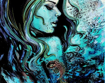 Female figure Print on canvas stretched and ready to hang 18x24, 36x48 inches choose size Koi