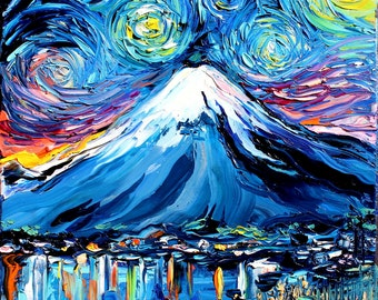 van Gogh Never Saw Mount Fuji - Art Giclee print reproduction by Aja 8x8, 10x10, 12x12, 20x20, and 24x24 inches choose your size