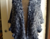 Black Ruffled Shawl Feather Soft Black and White Wisp Wrap Shawl Crochet Shawl