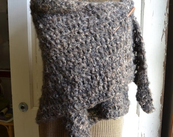 Brown and Black Mohair Shawl Wrap Crochet Shawl