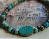 Southwestern Skies Stacking Bracelet, Swallows and Turquoise, Czech Beads, Gifts for Her,