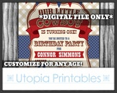 Our Little Cowboy 1st Birthday Invitation Cute Turning One First Country Western Theme Old West Party Digital Printable Red Blue Brown 5x7