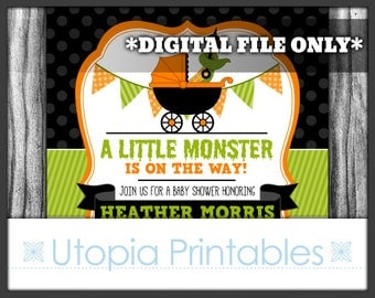 Halloween Baby Shower Invitation A Little Monster Is On The Way Party Creepy Cute Funny Theme Tentacle Rattle Digital Printable 5x7