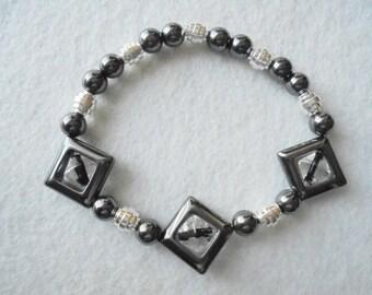 Bracelet, Non Magnetic Hematite Bracelet, Black Hematite, Silver Plated Beads, Ladies Hematite Bracelet, Black Bracelet, Non Magnetic Beads