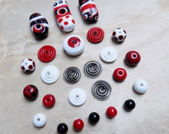 Lampwork glass bead set—red, black and white
