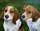 9x12 Custom Pet Portrait Pet Painting Two pets by Sharon Lamb