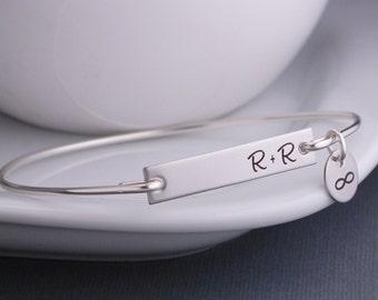 Bar Bracelet, Personalized Gift for Girlfriend, Initials Bangle Bracelet, Anniversary Gift for Wife, Bangle Bracelet