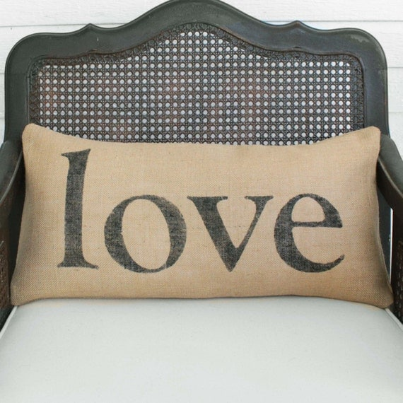 Love in any Language -  Burlap Pillow - Personalize with the language of your choice - Custom  Love Pillow Lumbar Style