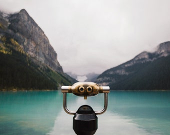 Mountain Lake Photograph, Lake House Decor, Nature Photography, Mountain Print, Lake Louise, Cottage Decor - Leap Before You Look
