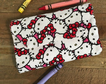 Crayon Wallet, Kids Wallet, Crayon Holder, Hello Kitty, Girls Wallet, Travel Crayon