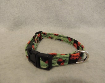 """X Small orSmall Dog Collar 1/2"""" Wide or Leash  Ladybugs"""