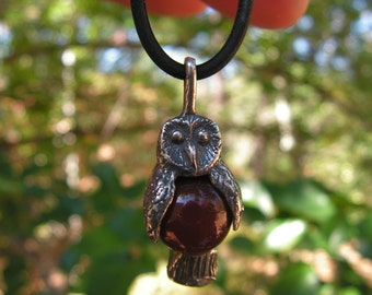 Sterling Silver Owl Pendant With Carnelian